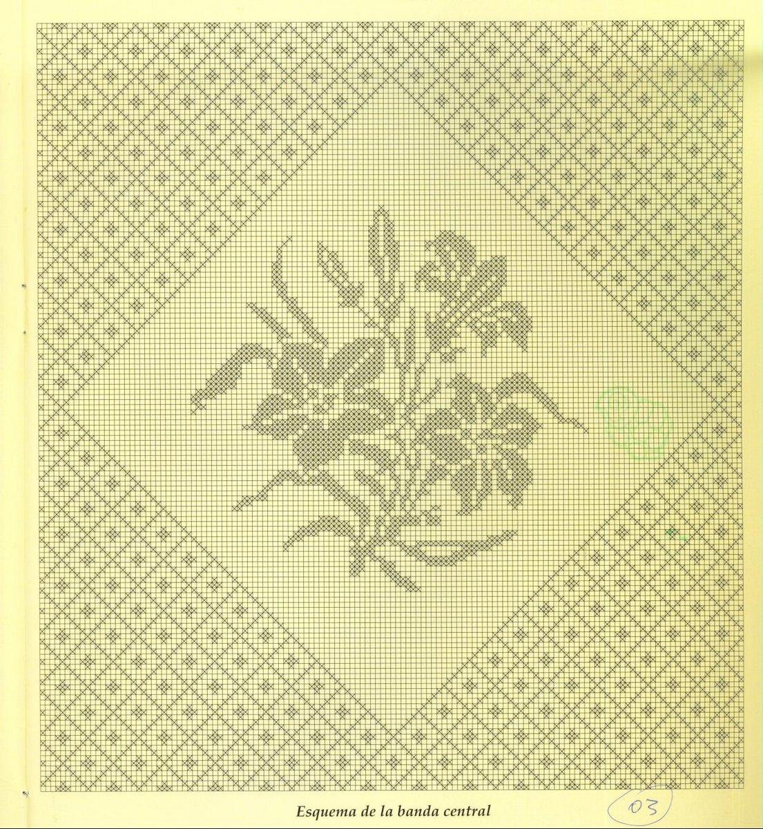 """Схемы  """"Цветы и бабочки """" для филейного вязания."""