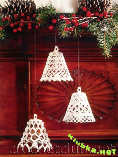 Для вязания ангелов и снежинок вам потребуется: хлопок белого цвета, материал для набивки; крючок 1,25.