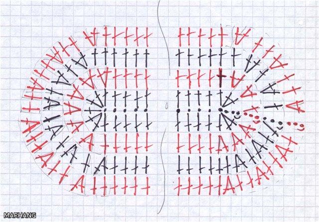 Схема вязания овала.