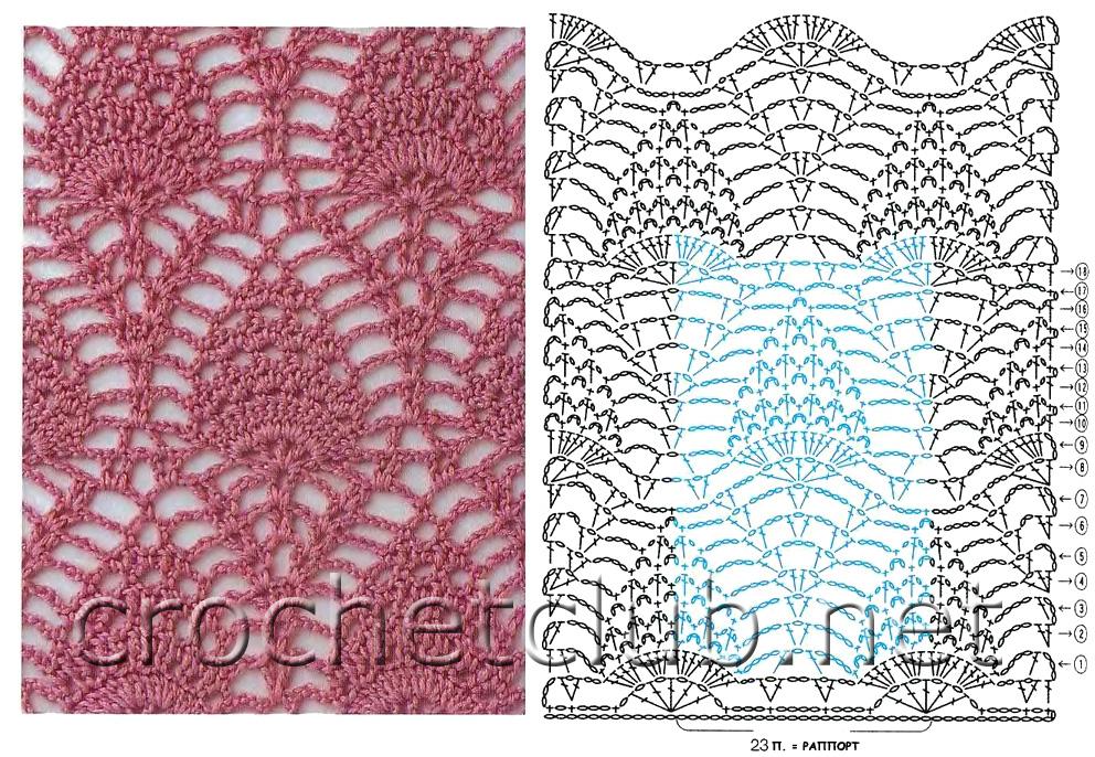 Выбрана рубрика Ананасовый узор крючком и модели связанные этим уз.  Чтение схем вязания крючком(3), цветы крючком...